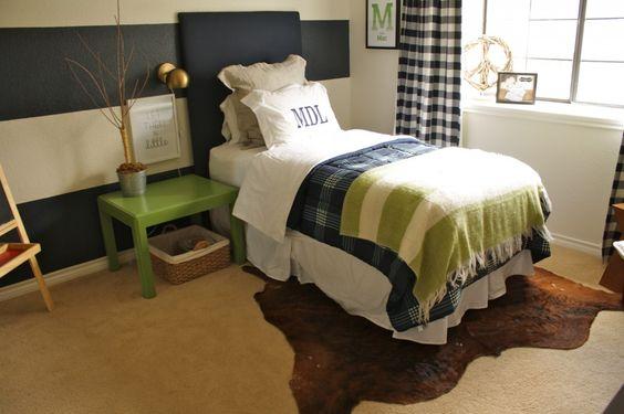 """Farm Chic"" Big Boy Room - love the navy and green color combo! #bigboyroom"