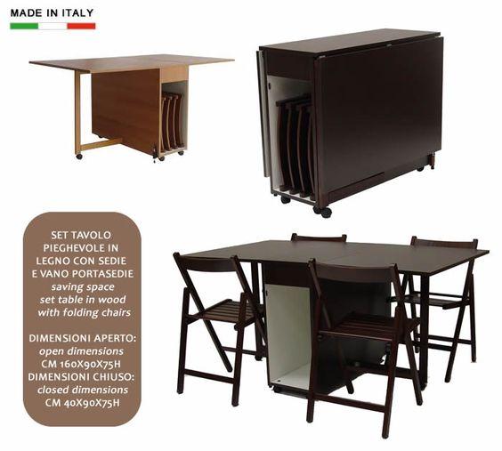 Set tavolo pieghevole in legno con sedie e vano portasedie h8234 ...