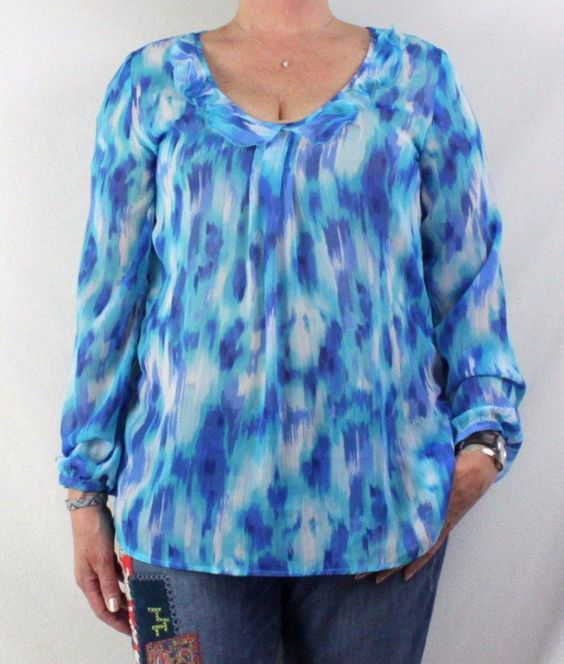 TravelSmith  Blouse M size Lightweight Sheer Blue Career Casual Top #TravelSmith…