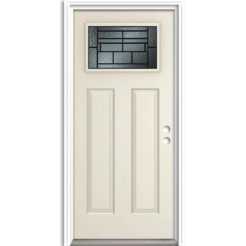 Therma Tru Benchmark Doors Pembrook Craftsman Decorative Glass Left Hand Inswing Ready To Paint Steel Prehung Entry Door With Insulating Core Common 36 In X 8 Entry Doors Reliabilt Steel Entry Doors