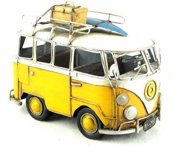 Vintage HandMade Metal Art Volkswagen VW Bus (Yellow)