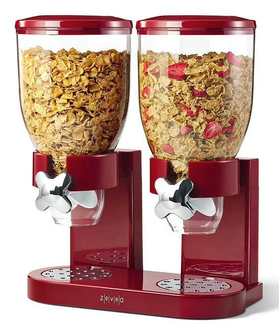Red Dry Foods Dual Dispenser - perfect for kiddos getting their own cereal! (Perfect for boys to get their own cereal. Would look cute on coffee bar)