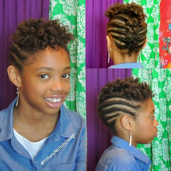 Natural Hairstyle For Kids Flat Twist And Roller Set