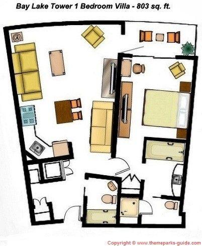 Bay Lake Tower At Disney 39 S Contemporary Resort 1 Bedroom Villa Floor Plan 803 Sq Ft Disney