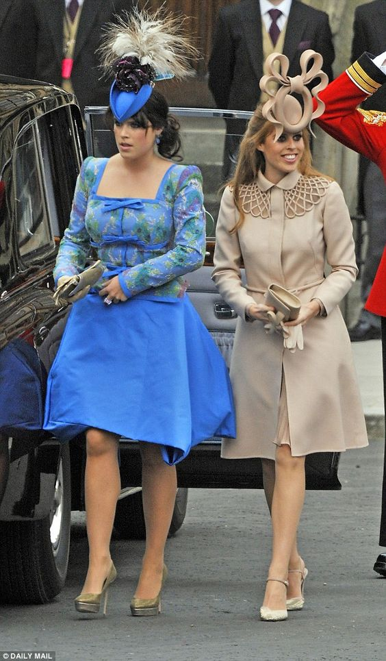 Princesses Eugenie (left) and Beatrice (right) came under fire for their questionable choices of outfits at William and Kate's wedding in 2011