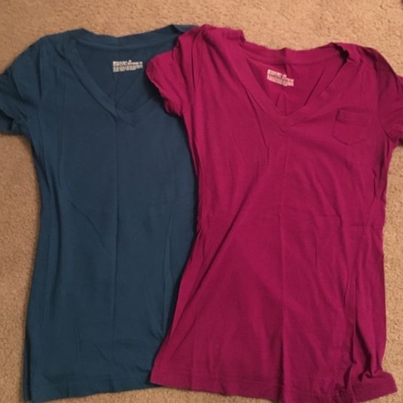 2 XS Boyfriend Tees from Target In great condition 2 boyfriend tees from target. Bright magenta and blue colors. Mossimo Supply Co Tops Tees - Short Sleeve