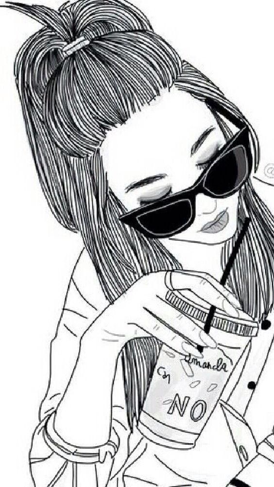 Dibujo A Lapiz En 2020 Lindos Dibujos Tumblr Hipster Girl