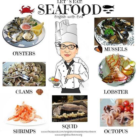 English Vocabulary,Seafood,English with Eva