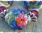 Pacific Island, lampwork beads by JavaBead
