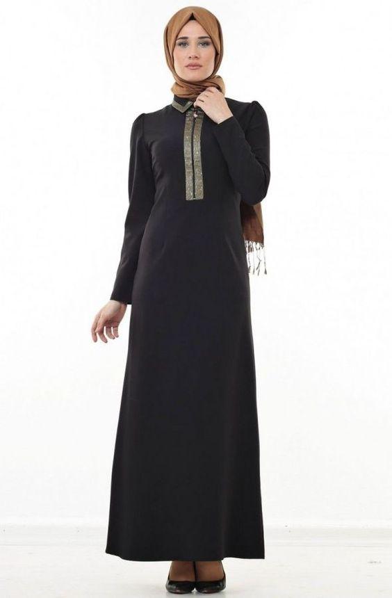 Puane Ayaklı Şömizye Yaka Elbise-Siyah 4504-001-01