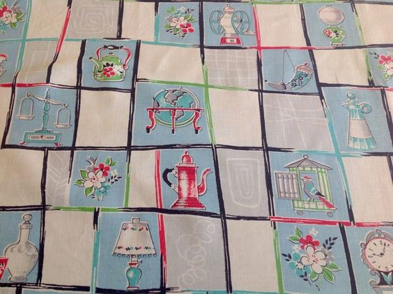 128 x 115cm cool kitsch VTG tablecloth 50s 60s fabric material kitchenalia items