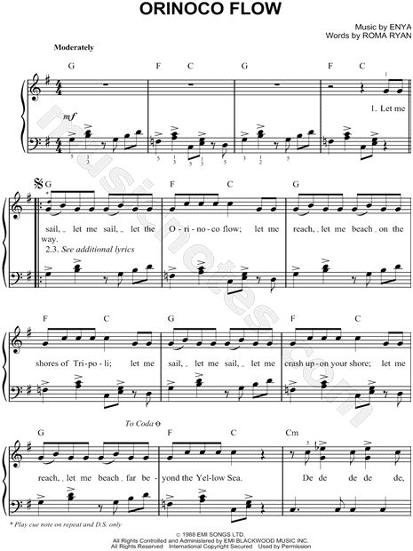 Enya Quot Orinoco Flow Quot Sheet Music Easy Piano Download