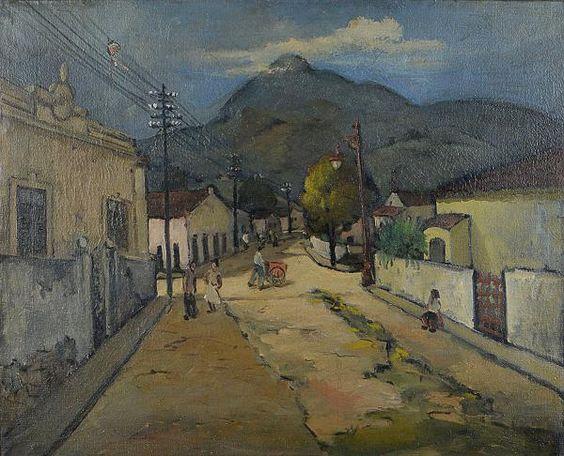 """Sylvio Pinto (1918 - 1997) - """"Rua"""", o.s.t. - 50 x 61 cm. Assinado, datado 1950 e tit. no verso"""
