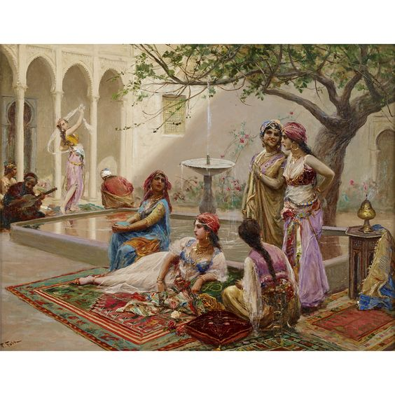 FABIO FABBI (italian 1861-1946) IN THE HAREM Signed 'F. Fabbi' bottom left, oil on canvas 28 1/4 x 36 1/4 in. (71.8 x 92.1cm) Estimate $25,000-35,000 Sold for $31,200 (buyer's premium included)
