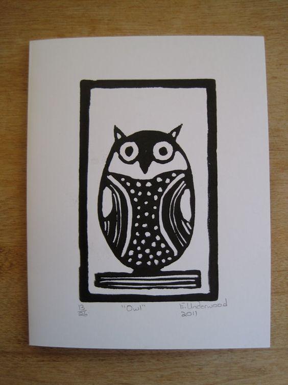 Owl card  linocut printmaking by FibreCrazed on Etsy, $2.50