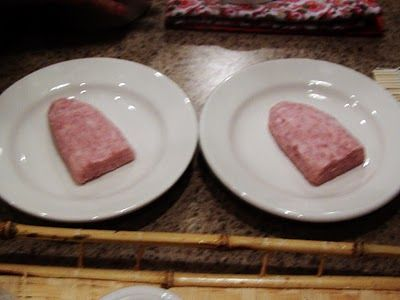 Pig's tongue eating challenge (spam carved into the shape of a tongue)
