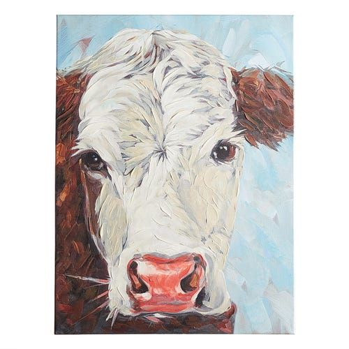 Hereford Cow Canvas Wall Art In 2020 Cow Canvas Cow Paintings