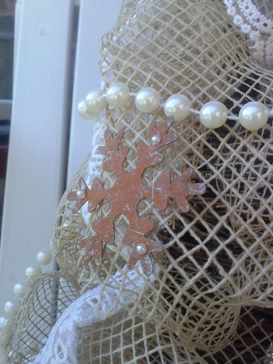 Custom Order Natural Net and Lace Shabby Chic by DecktheCottage