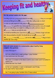 Printables Fitness Worksheets english worksheet fitness and health 2 contextual exercises on vocabulary grammar