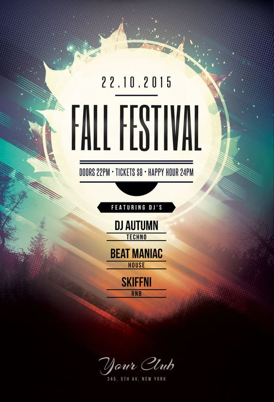 Fall Festival Flyer by styleWish (Buy PSD file - $9). Atmospheric poster design to promote your autumn music event. #design #poster #graphic