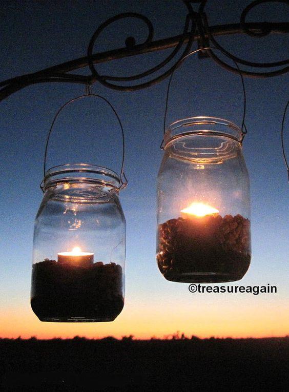 Autumn Candle Jars Fall Mason Jar Lanterns with Corn fill  Tea