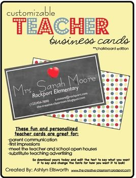 Teacher business cards editable chalkboard fun for for Teacher business cards templates free