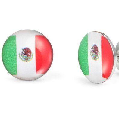 R&B Bijoux - Boucles d'Oreilles Homme - Clous Mexique - Drapeaux Mexicains - Acier Inoxydable (10mm, Argent, Vert, Rouge, Blanc). 11,90€