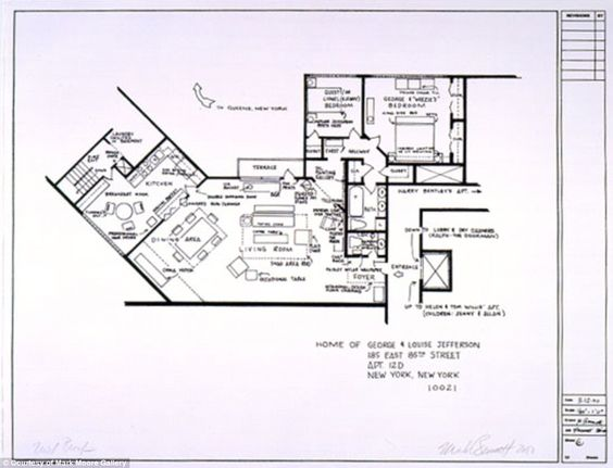 The jeffersons  House floor plans and Floor plans on PinterestHouse floor plan from The Jeffersons