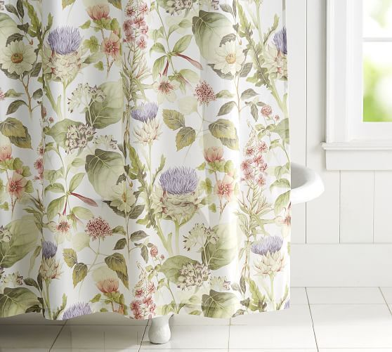 Thistle Print Shower Curtain Blue Shower Curtains Printed