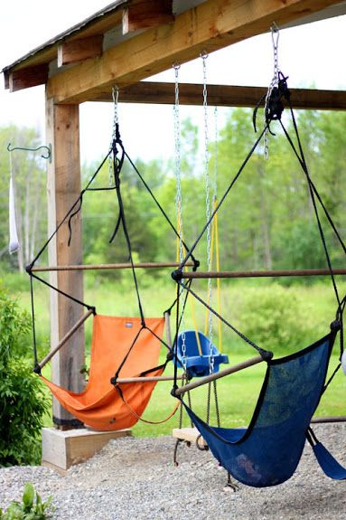 Exactly what I wanted to do under the deck id like different style hammock but of course Pinterest has a pic of it!