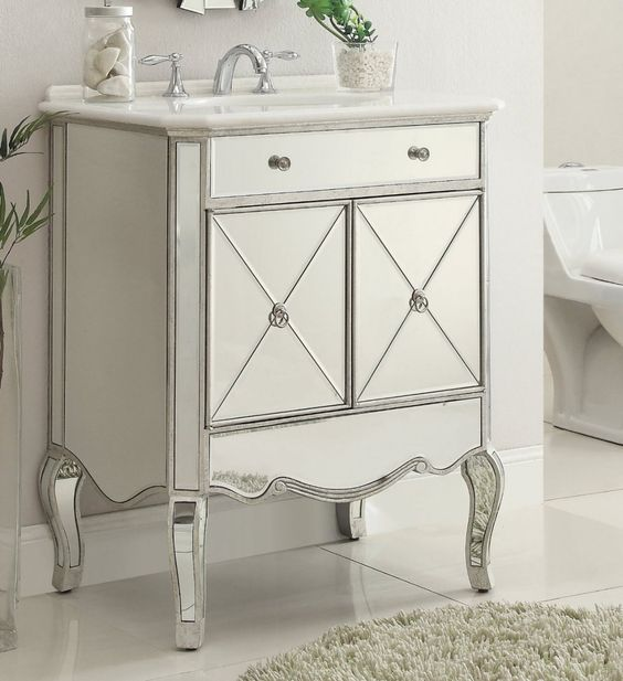 Camille Mirrored 2 doors vanity cabinet in silver and clear mirror Finish MF3-5106SC