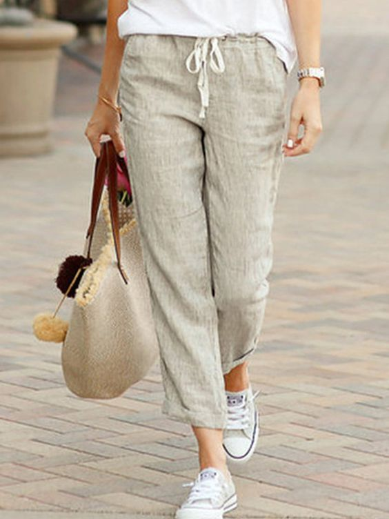Casual Solid Color Drawstring Pants for Women