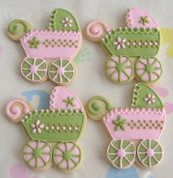 PINK and SAGE Baby Shower Cookies Baby Carriage by lorisplace, $35.99:
