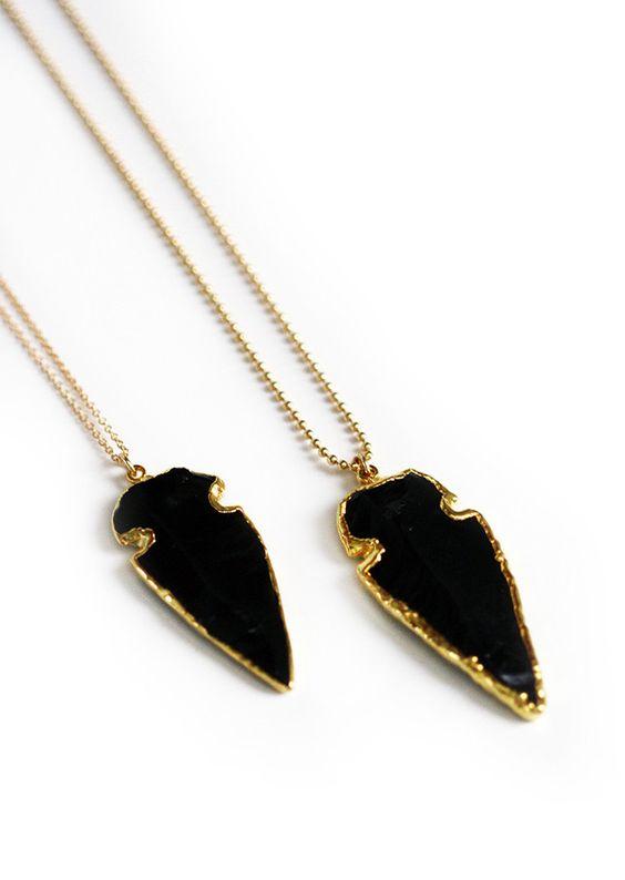 BLACK obsidian arrowhead necklace