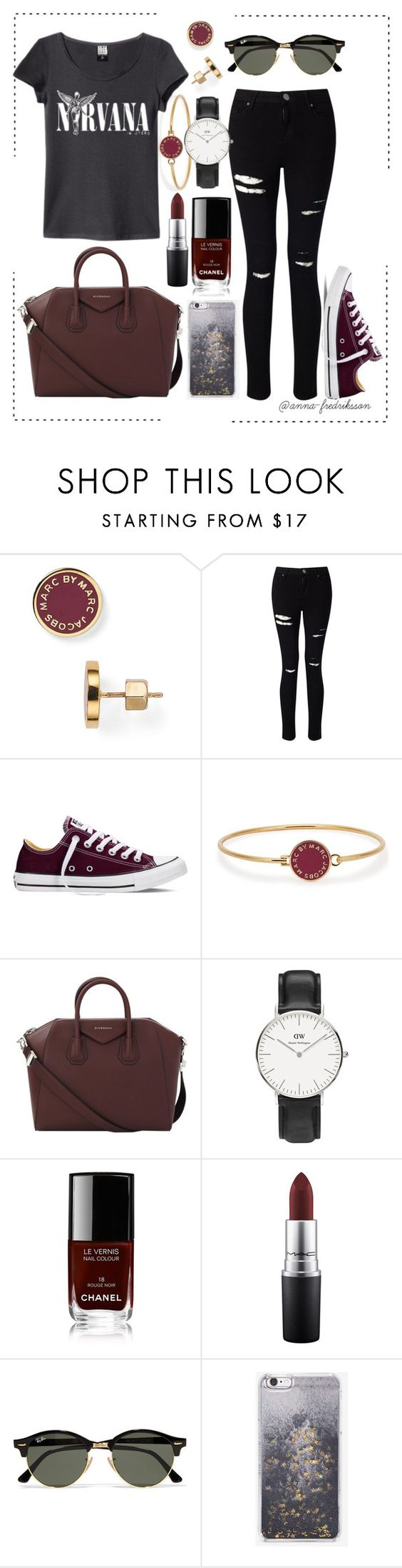 """""""Rocker Chic"""" by anna-fredriksson ❤ liked on Polyvore featuring Marc by Marc Jacobs, Miss Selfridge, Converse, Givenchy, Daniel Wellington, Chanel, MAC Cosmetics, Ray-Ban and Skinnydip"""