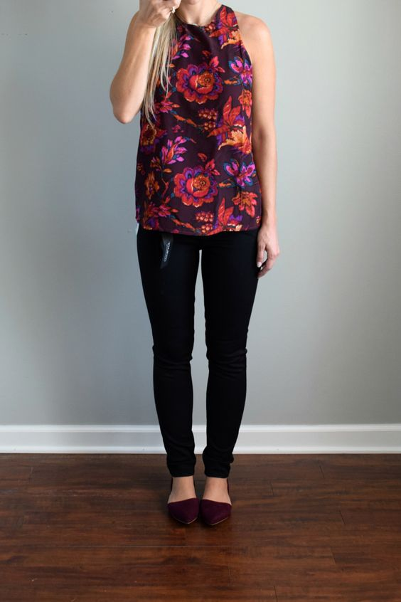 Stitch Fix Review October 2016: Just Black Autumn High Rise Skinny Jean and Alice Blue Welbeck Crew Neck Silk Blouse |www.pearlsandsportsbras.com|