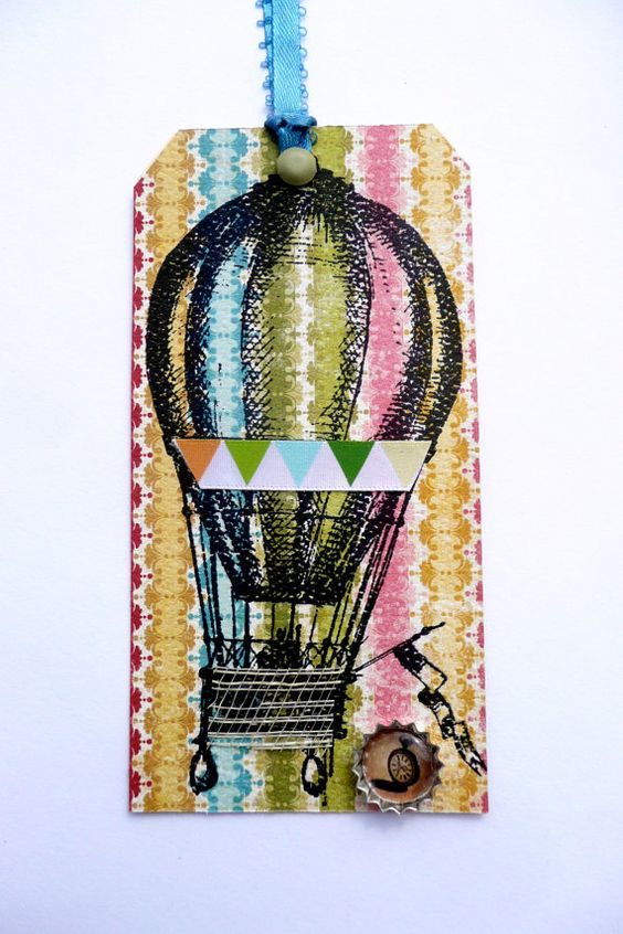 Gift Tags/Hang Tags/Set of 2/Up and Away in by valburgesscollage, $4.00-Cool!
