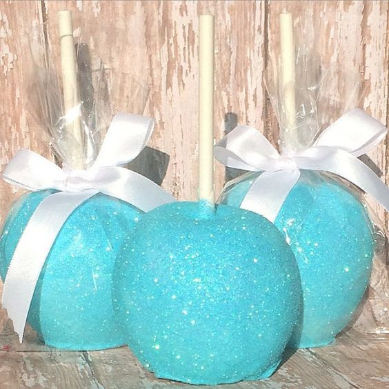 Frozen Themed Chocolate Covered Apples Teal Aqua Perfect sweets table dessert!! Wedding favors!!