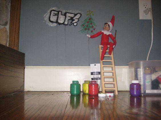 Elf on shelf - naughty!: Elf On The Shelf Painting, Christmas Elf, Elf On The Shelf Graffiti, Elf On Shelf, Kids Ideas, Shelf Naughty, Naughty Elf, Shelf Ideas