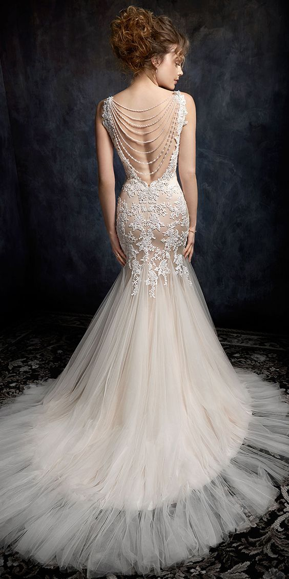 Kenneth Winston Style 1727 Trumpet Mermaid Style Beaded Embroidery Wedding Dress With Lace S Wedding Dresses Mermaid Style Wedding Dress Wedding Dresses Lace