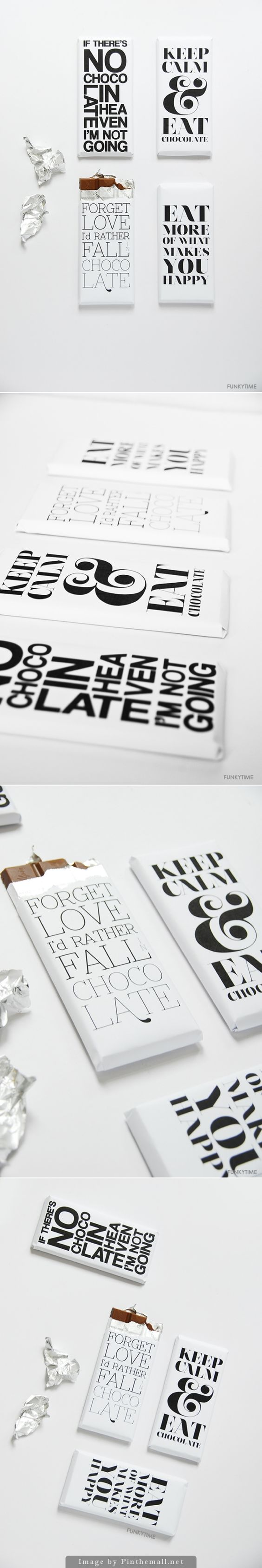 Free Typography Chocolate Bar Wrappers | Funkytime Tk #printable #chocolate