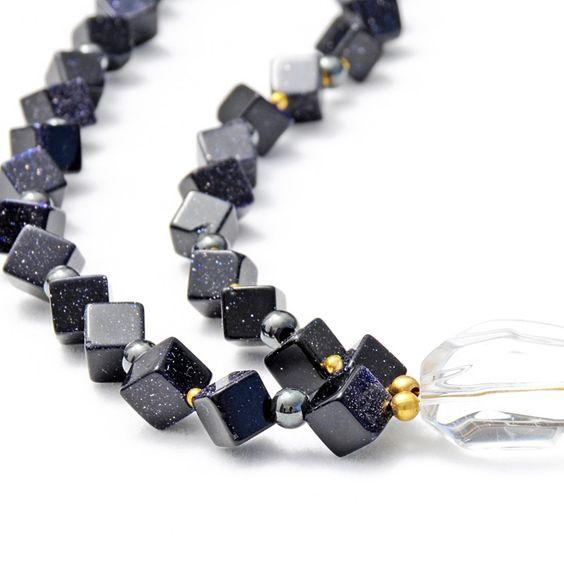 """Necklace with blue goldstone, hematite and crystal quartz """"MELODIA"""" - Halskette mit Blaufluss, Hämatit und Bergkristall:"""
