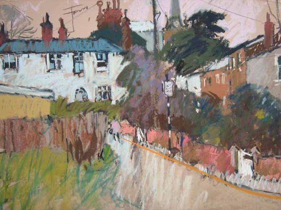 """Artist John Tookey/ """"Brook Street, Woodbridge"""" / pastel"""