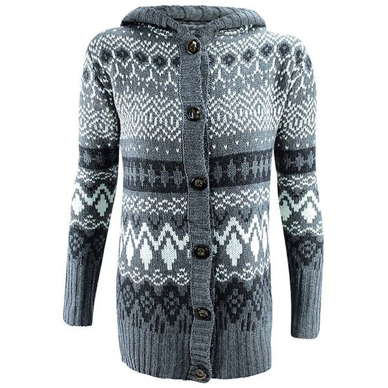 Gray Southwestern Button Down Hooded Sweater Coat ($35) ❤ liked on Polyvore featuring tops, sweaters, grey, gray oversized sweater, hooded knit sweater, grey sweater, chunky knit sweater and oversized knit sweaters