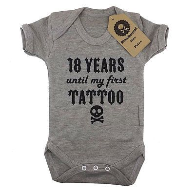 Metallimonsters first tattoo vest grey alternative rock metal baby onesie in…