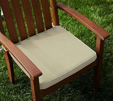 Sunbrella(R) Contrast Piped Outdoor Dining Chair Cushion, Linen Sand