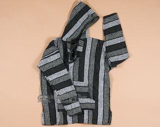 Baja Hoodie Sweat Shirt -Grey LARGE (b10)