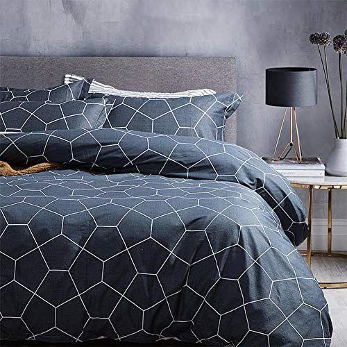 King Duvet Cover Set Dark Navy Blue 104x90 Soft Geometric Pattern Bedding Cover Luxury Lightweight Mi King Duvet Cover Sets King Duvet Cover Duvet Cover Sets