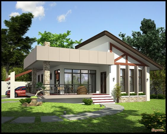 Simple bungalow dream home design pinterest simple for Small house design with terrace
