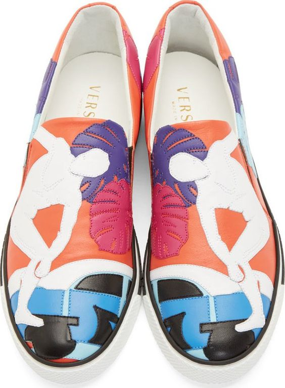 Versace Red Leather Embroidered Cuba Sneakers